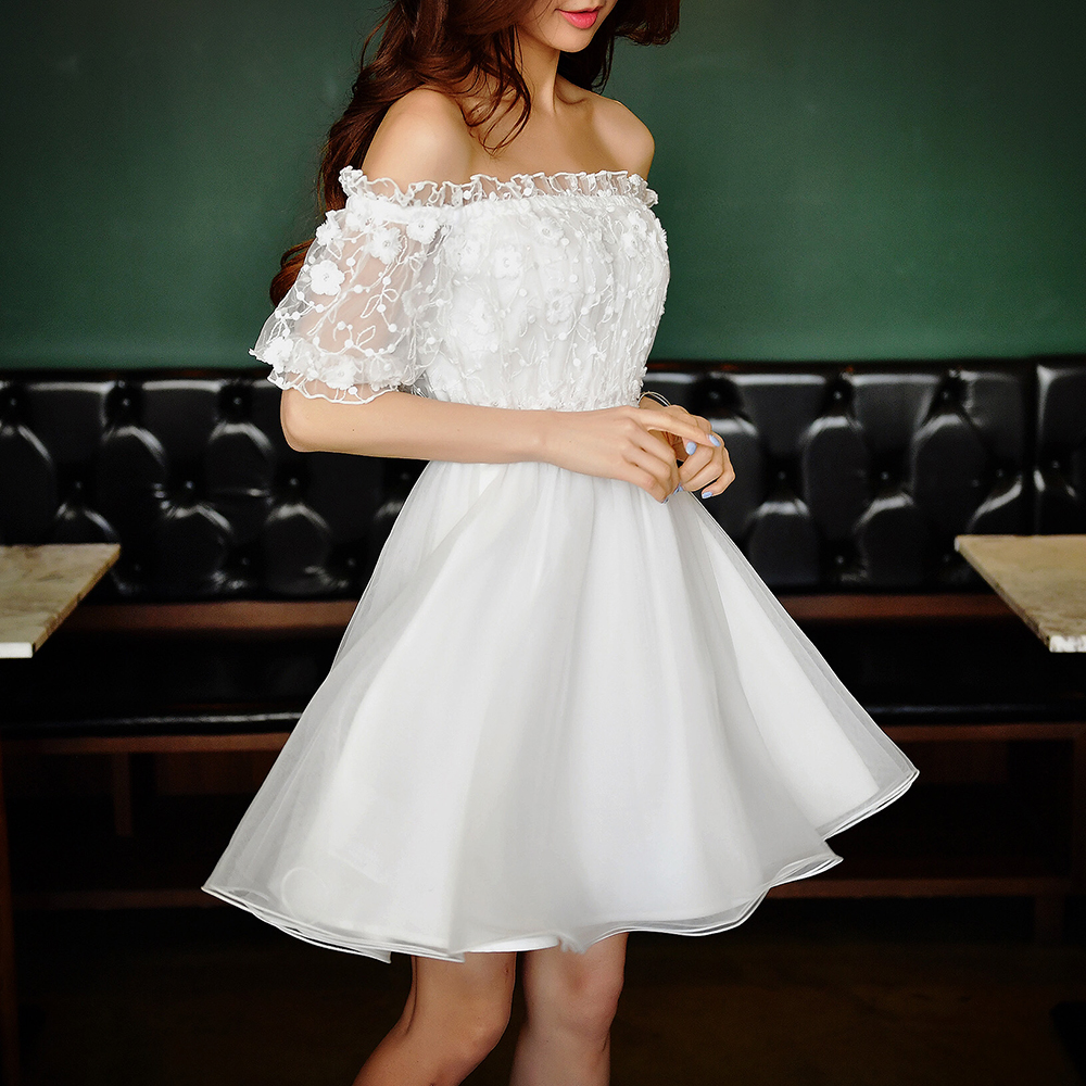 Dabuwawa white ruffled A-line off shoulder balloon sleeve mini dress