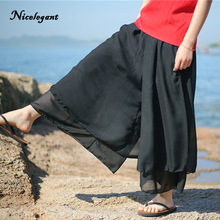 ea67debe89 Silk Cotton Fahion Wide Leg Pants Comfortably Soft Fake Two Women New 2019  Summer Beach Solid