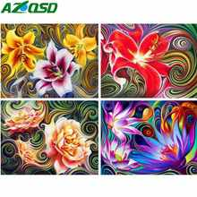 AZQSD Full Square Diamond Painting Abstract Flowers Picture Of Rhinestones Handmade Diamond Mosaic Cross Stitch Home Decor Gift(China)