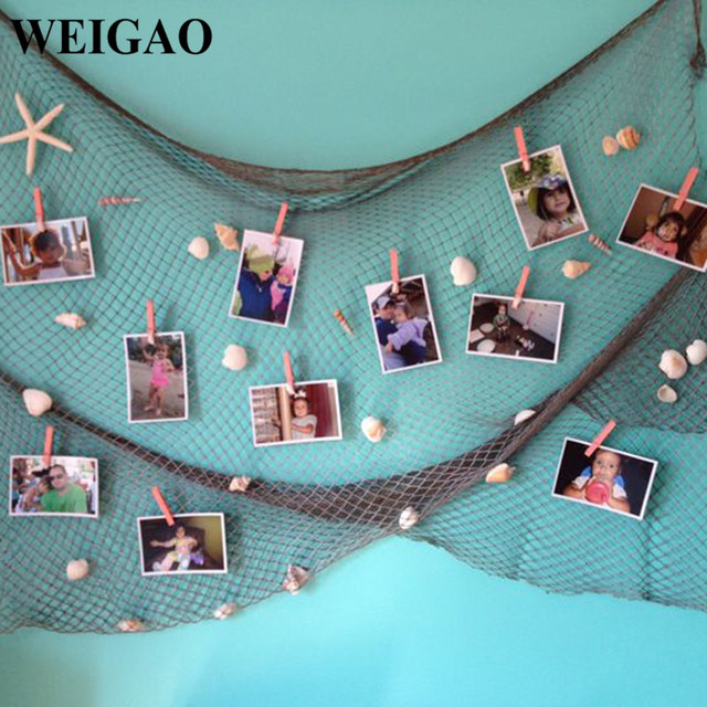 Weigao 1set Creative Baby Shower Photo Wall Hanging Fish Nets