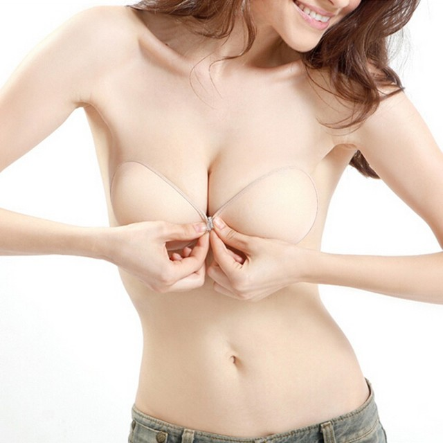 95f298b3b52b2 Sexy Women Invisible Push Up Bra Self- Adhesive Silicone Bust Front Closure  sticky bra Backless Strapless Bra A B C D sujetador