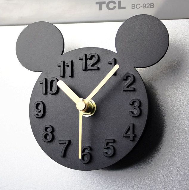 Modern Designer Mickey Mouse Wall Clock Blank Fridge Magnet Digital Self Adhesive