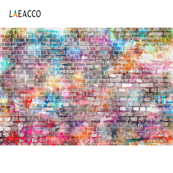 Laeacco Colorful Brick Wall Photo Backdrops Photophone Graffiti Portrait Grunge Photography Backgrounds Studio Photocall