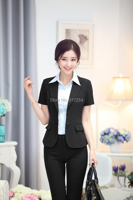 Formal Pantsuits Elegant Black Uniform Style Office Ladies Suits with Pants  and Jackets Trousers Suits 2015 272e2c32d580