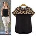 Comercialización caliente Nuevo de Las Mujeres de Leopardo de Impresión Cortocircuito de La Gasa Ocasional de La Camiseta Tops Envío de La Gota H22