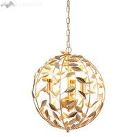 Nordic post modern gold globe pendant lamp iron leaves pendant light for living room restaurant kitchen home lighting fixtures