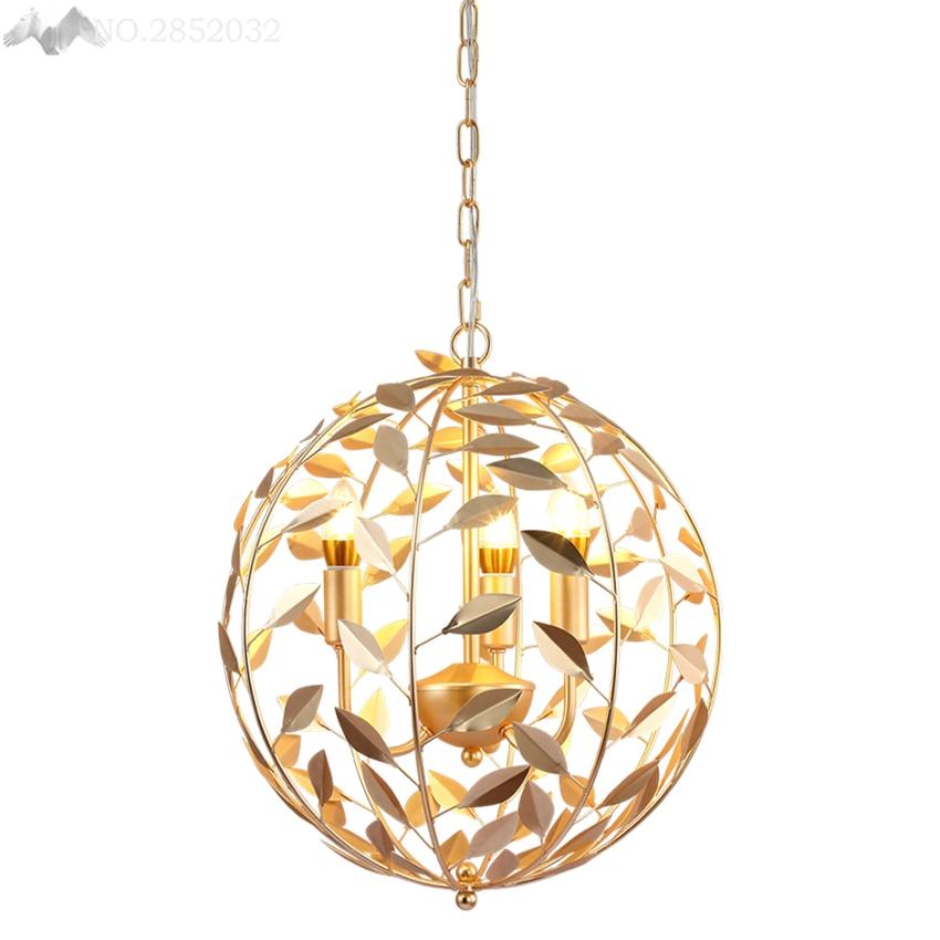 Nordic post modern gold globe pendant lamp iron leaves ...