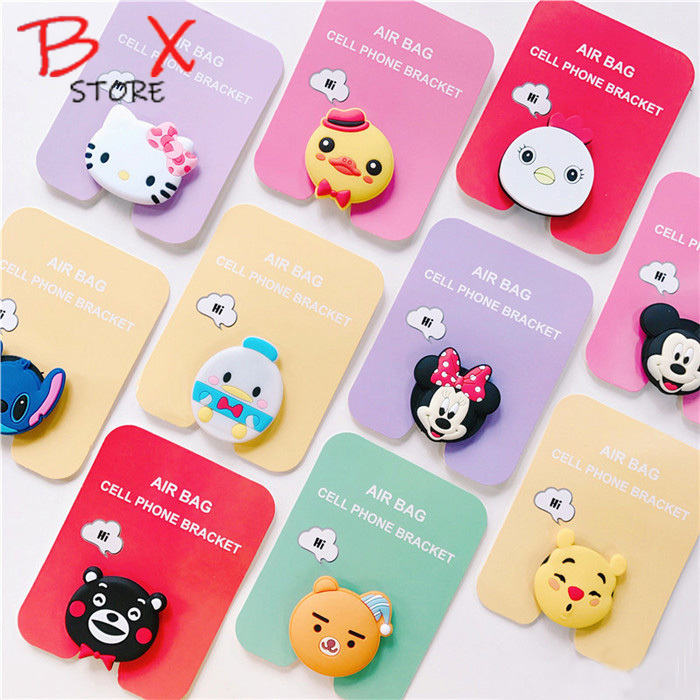 Air Bag Cell Phone Bracket Cute Stitch Pooh Mickey Minnie Phone Stand Finger Holder For IPhone Samsung Universal Phone Stand