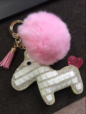 6d33e06fe690 Fox Fur Pompom Horse Keychains Pure White Crystal Purse Charm Luxury Tote  Girls Bag Accessories Pendants Keys Ring Pink Fluffy-in Key Chains from ...