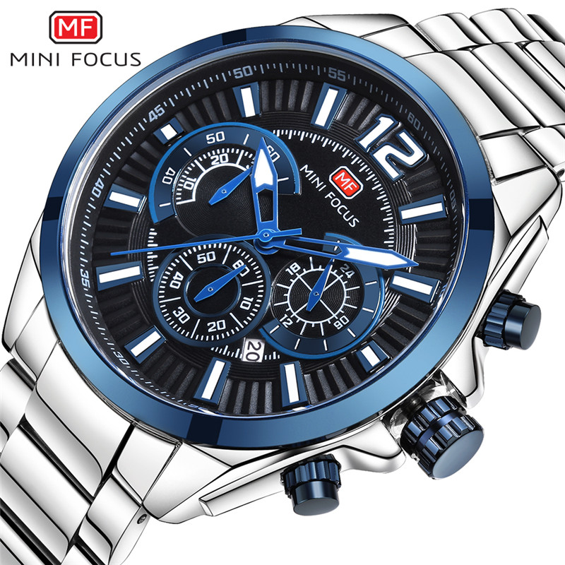 MINIFOCUS Men Watch Top Luxury Brand Chronograph Date Mens Watches Military Army Sport Stainless Steel Quartz Male Clock 0104 jedir fashion chronograph men watch top brand luxury blue mens watches military male date clock stainless steel sport clocks