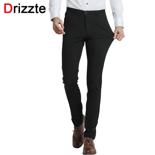 f27fa561f1 Drizzte marca pantalones de vestir para hombre Pantalones Slim Fit Casual  Formal pantalones de negocios 28