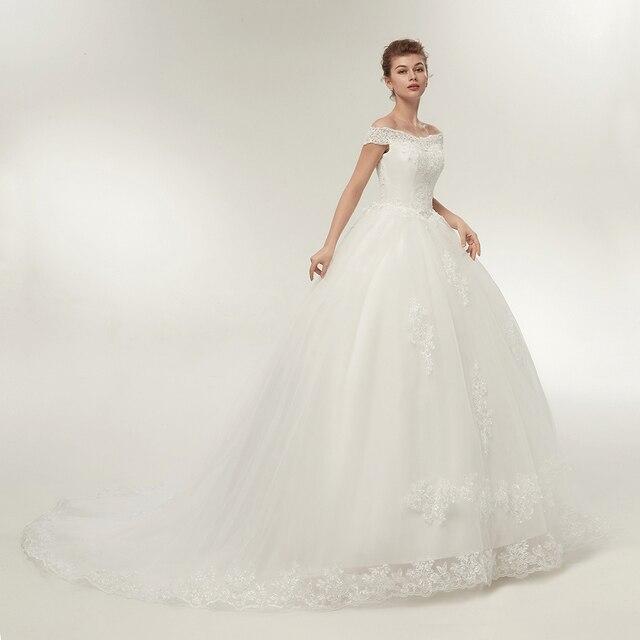 Fansmile Vestidos de Noivas Vintage White Long Train Wedding Dresses 2019 Plus Size Customized Lace Ball Bridal Gowns FSM-121T 2