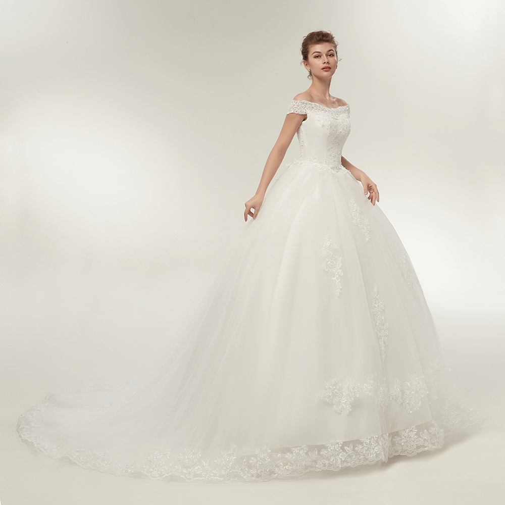 Fansmile Vestidos de Noivas Vintage White Long Train Wedding Dresses 2019 Plus Size Customized Lace Ball Bridal Gowns FSM-121T