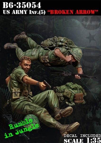 1/35 Resin Figures Model Kit Vietnam War US Soldiers (2pcs/lot) Unpainted XD155