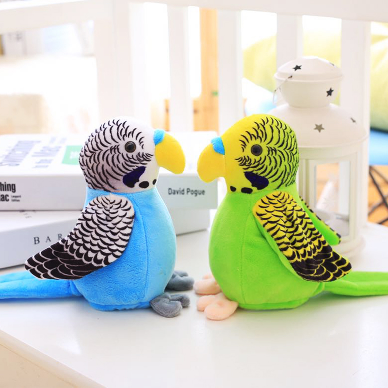 18cm Cute Electric Talking Parrot Toy Speaking Record Repeat  Waving Wings Electronic Bird Stuffed Plush Toy Kids Gift
