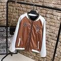 Неприкрытая атласная вышивка бомбардировщик куртка женщин хаки сувенир тигр пальто куртки Вскользь куртки бейсбола sukajan плюс размер