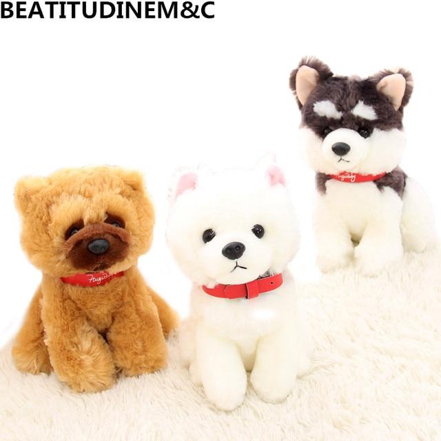 Simulation Cute Dog Plush Toy Alaskan Malamute Samoyed Dog Chow
