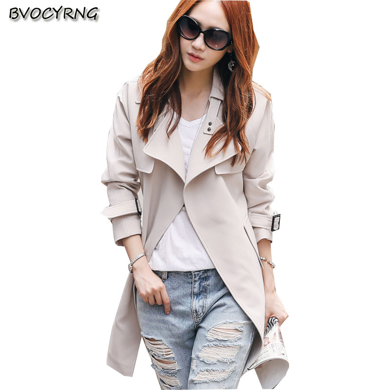 New Korea 2017Loose Big Yards Women Spring Autumn Slim Coat Pure Color Lapels Long Sleeve Fashion High-end Charm WomenQ423