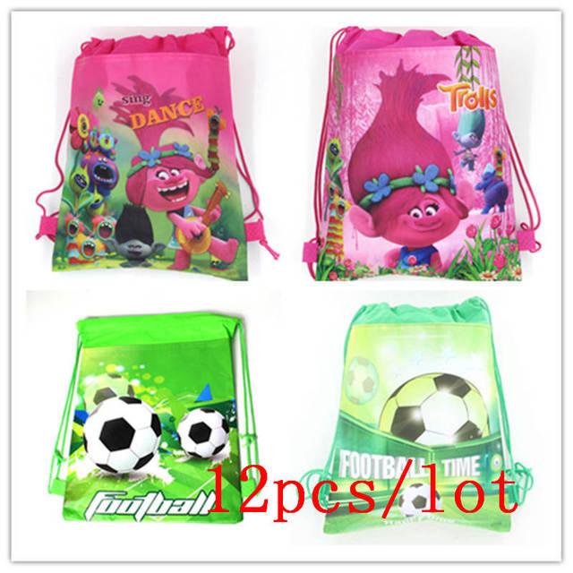 b3a43f2b522 Hot 12Pcs Lot Trolls Theme Cartoon Drawstring Bag Child School String Bags  Shopping Bag Boy Girl Baby Shower String Bags Supply
