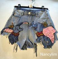 NANCYLIM Brand Denim Shorts Lady 2019 Summer New Bead Sequins Flying Elephant High Waist Cowboy Shorts Women's Holiday Hot Pants