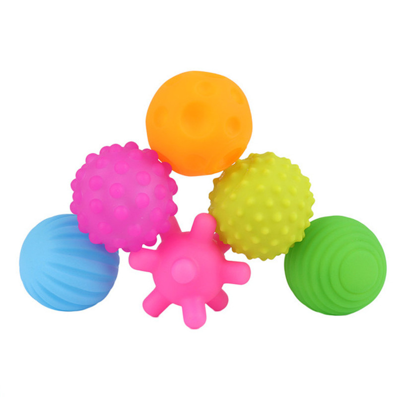 6 pcs Toy Ball Set Squeeze Toy Rubber Balls Toys Touch Hand Ball Bath Baby Summer Pool Toy Textured Multi Ball