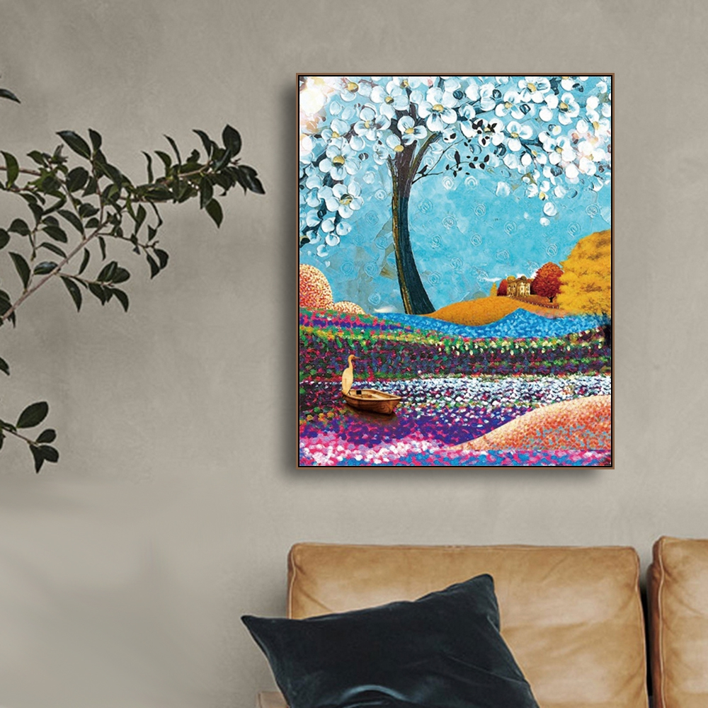 Colorful Petal Flowers Tree Canvas Painting Art Print Poster Picture Wall Modern Minimalist Bedroom Living Room Decoration in Painting Calligraphy from Home Garden
