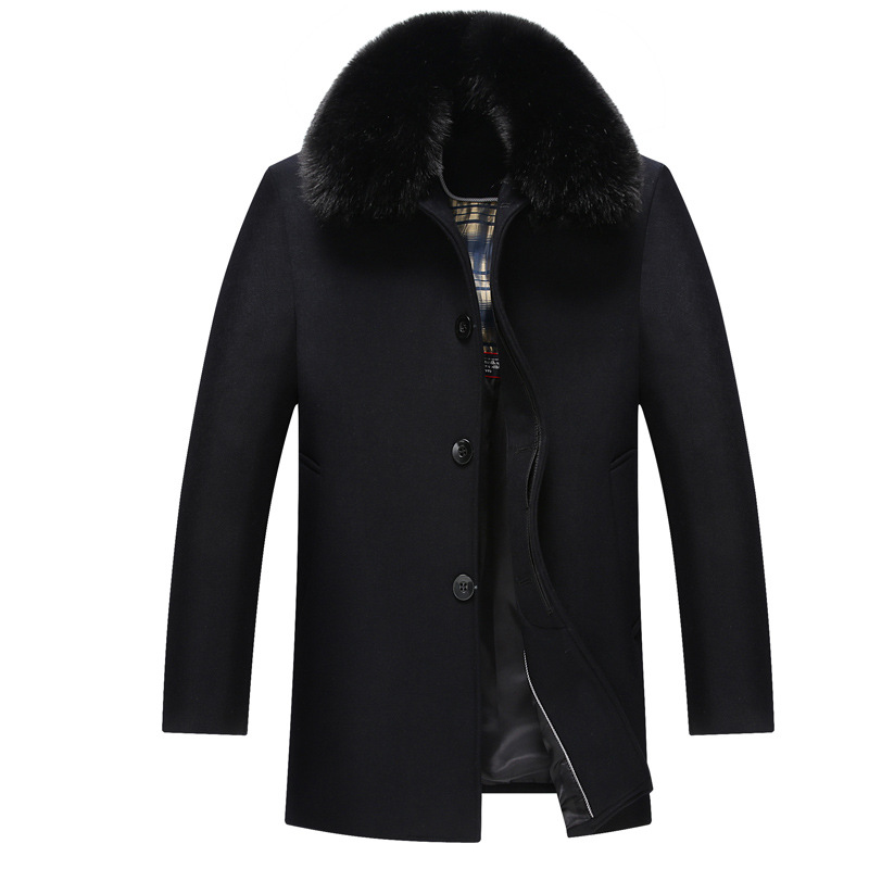 2016 winter middle aged men s wool woolen coat long thick comfortable warm large size XL