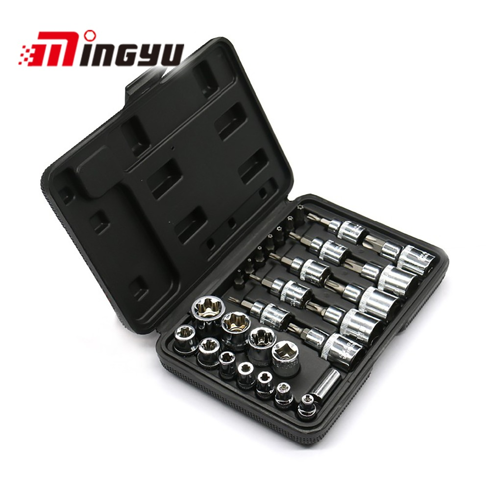 Star Bit Socket Set With 1/4 3/8 1/2 Drive Torx Bit Ratchet Handle Accessories Auto Car Repair Tools 30Pcs mainpoint 1 4 1 2 3 8 e socket sockets set cr v torx star bit combination drive socket nuts set for auto car repair hand tool
