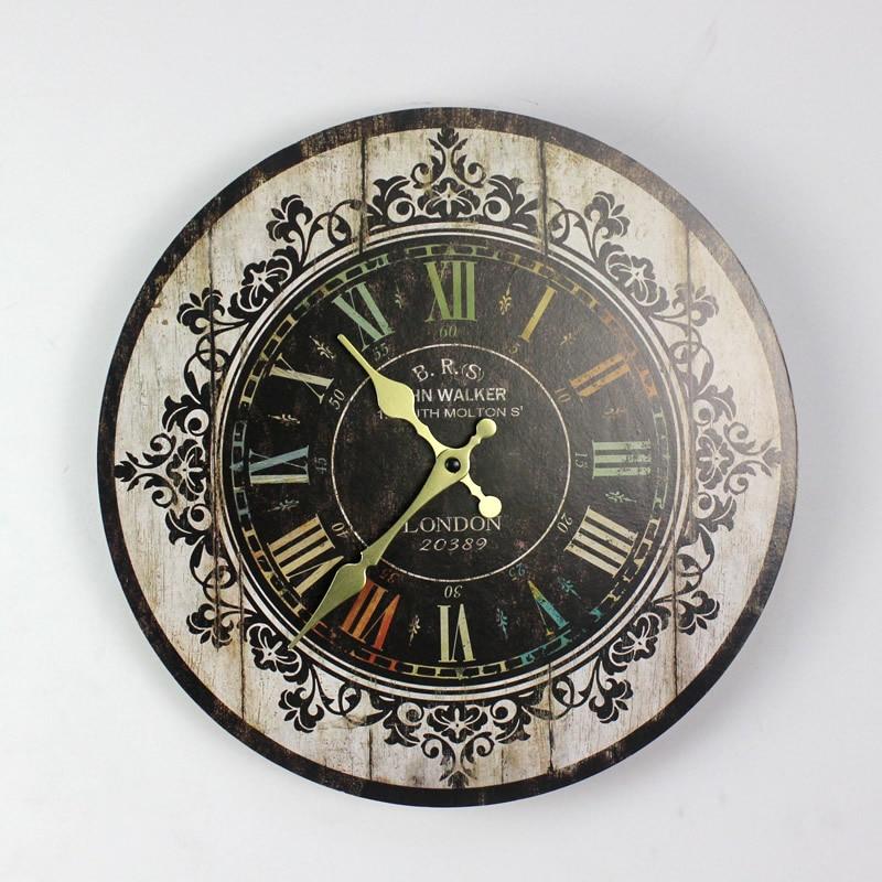 Us 2018 30 Offduży Rozmiar Zegary ścienne W Stylu Vintage Kwiat Drewniany Zegar ścienny Kuchnia Antyczne Shabby Chic Retro Wystrój Domu W Zegary