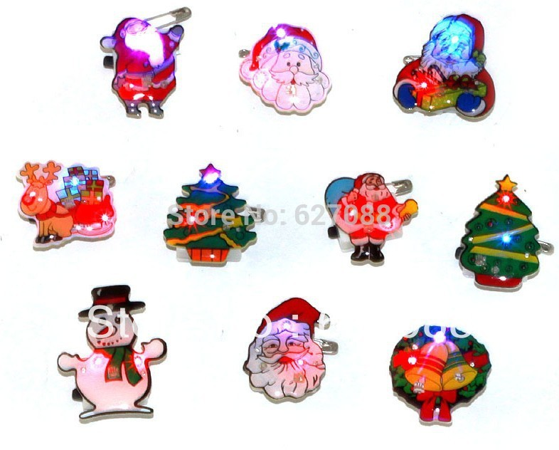 christmas decoration supplies flash brooch flashing lovely badge Mixed delivery led toy Includ electronic free shipping DHL