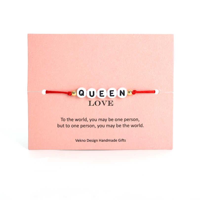 VEKNO カスタムカップル手紙ビーズ彼と彼女のブレスレット男性女性赤 & 黒ロープ調節可能な文字列名ブレスレット DIY ジュエリー