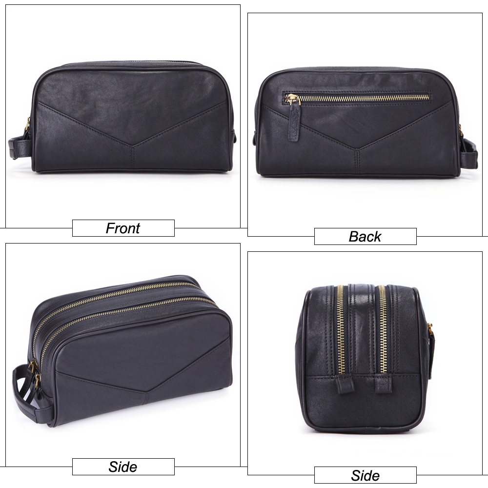 MISFITS men cosmetic bag genuine leather fashion makeup bag travel toiletry case hand held make up wash bags for male organizer in Cosmetic Bags Cases from Luggage Bags