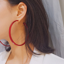 Fashion Creative New Big Circle Hoop Earrings for Women Steam punk Exaggerated Acrylic Ear Loop Smooth Red Blue Round