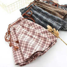 Spring new Women Plaid Thin Woolen Short Skirt Elastic Waist with Sashes Young g