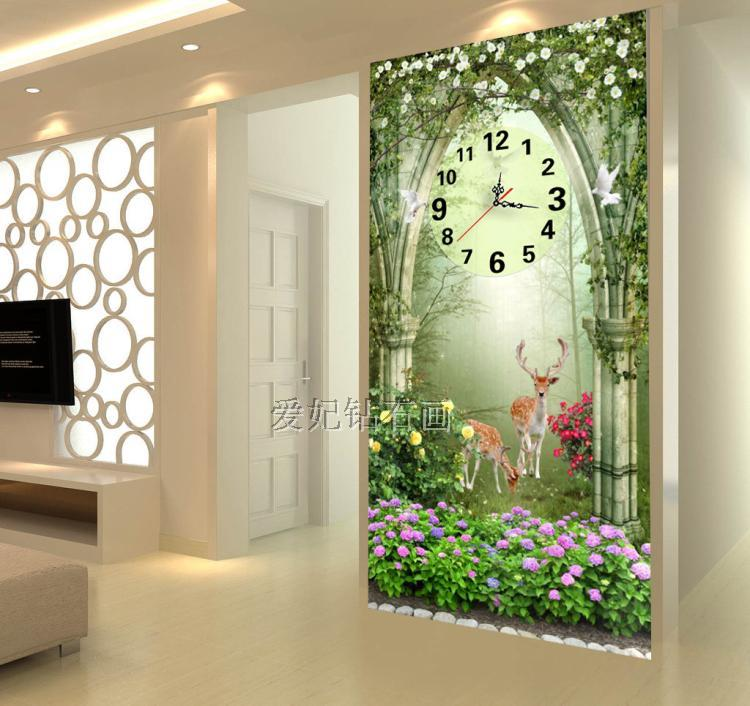 5D Square Diamond Drilling Painting, Full Paste Drilling Cross Stitch, Dream Garden, Deer, Mosaic Embroidery Wall Clock,-in Diamond Painting Cross Stitch from Home & Garden    3