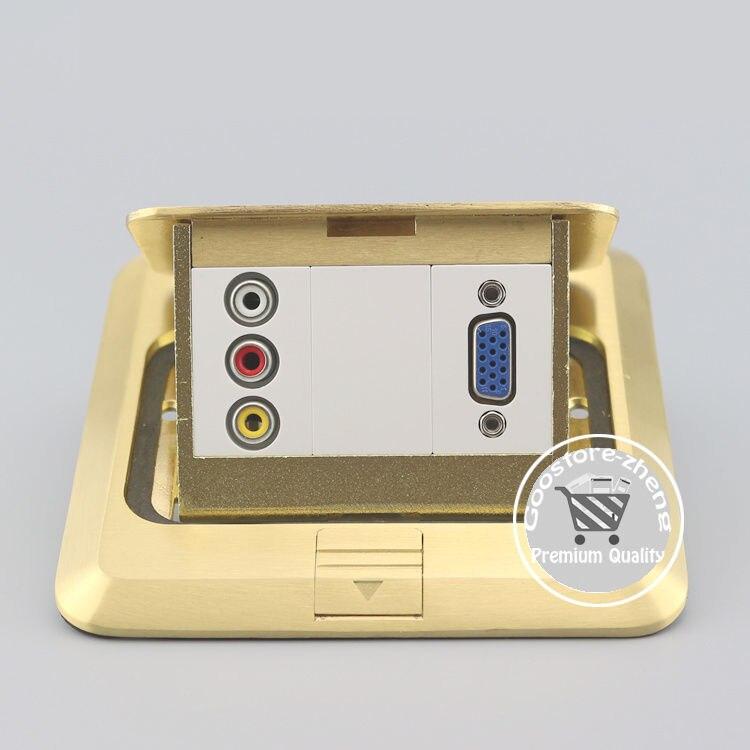 Bronze Pop-up VGA & AV RCA Connector Socket Floor Ground Media Outlet Receptacle 10pcs rca av 90 degree audio jack socket receptacle connector yellow