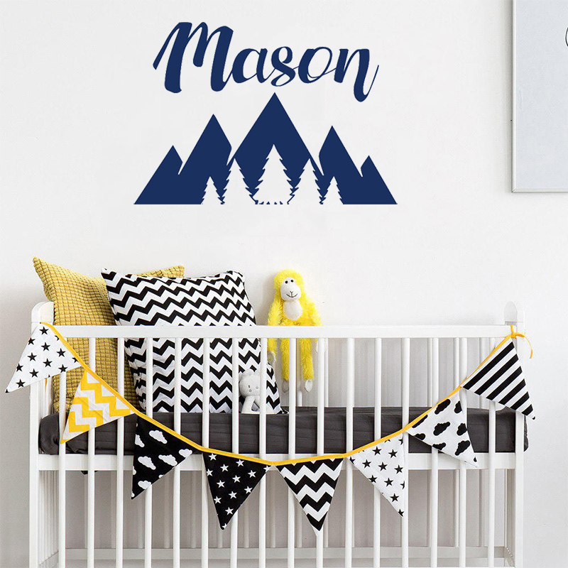 Us 7 23 27 Off Stizzy Wall Decal Nordic Personalized Name Sticker Mountains Woodland Baby Nursery Room Vinyl Interior Home Decor Murala389 In