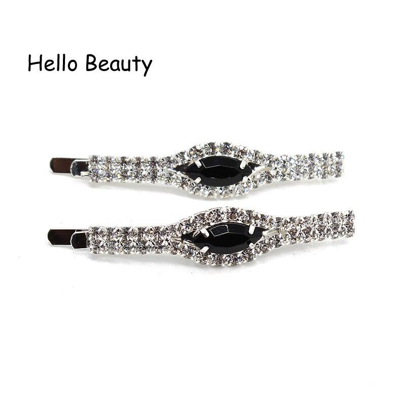 12 PCS Fashion Hair Accessories Stone Hair Grip Slide Crystal Hair Barrettes Black Rhinestone Hair Clip For Woman Girls