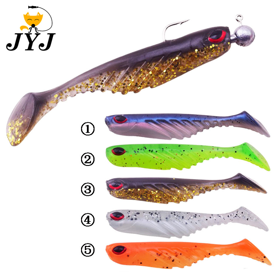 5 pcs <font><b>Silicone</b></font> Fishing <font><b>Lure</b></font> 70cm 3g jig head Wobblers Swimbait Artificial Soft Bait <font><b>T</b></font> <font><b>tail</b></font> Paddle <font><b>tail</b></font> Bass Carp fishing tackle image