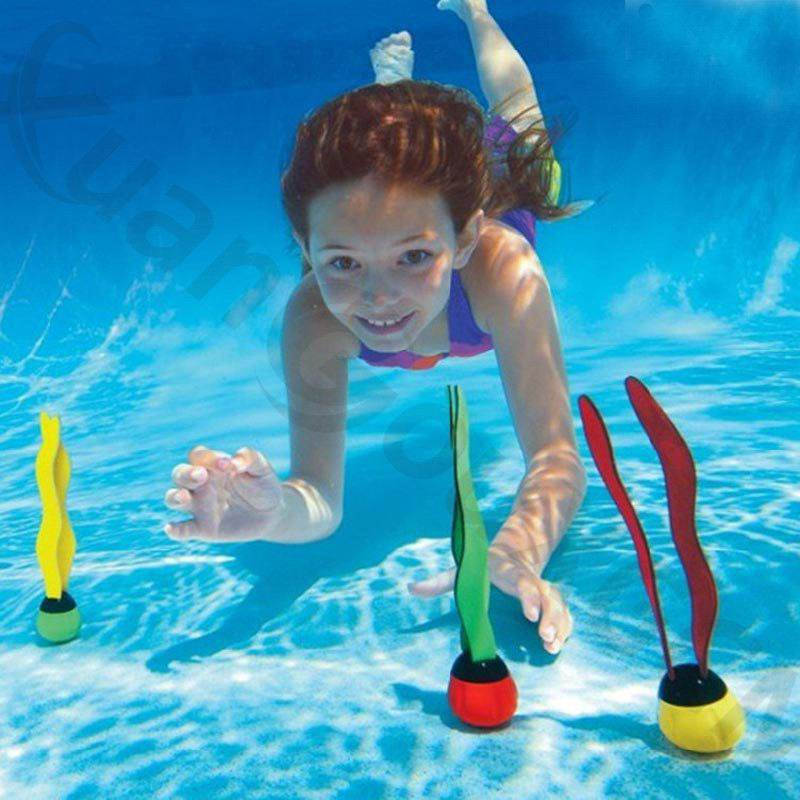 5sets 3pcs/set outdoor sport dive bar kid Diving Pool training Toy seaweed Diving buoy beach summer water play aqua game toys