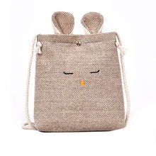 Women Messenger Bags Sling Bag Women Burlap Cat Ears Small Square canvas Bag Simple Cute Shoulder Crossbody Bag Taschen X(China)