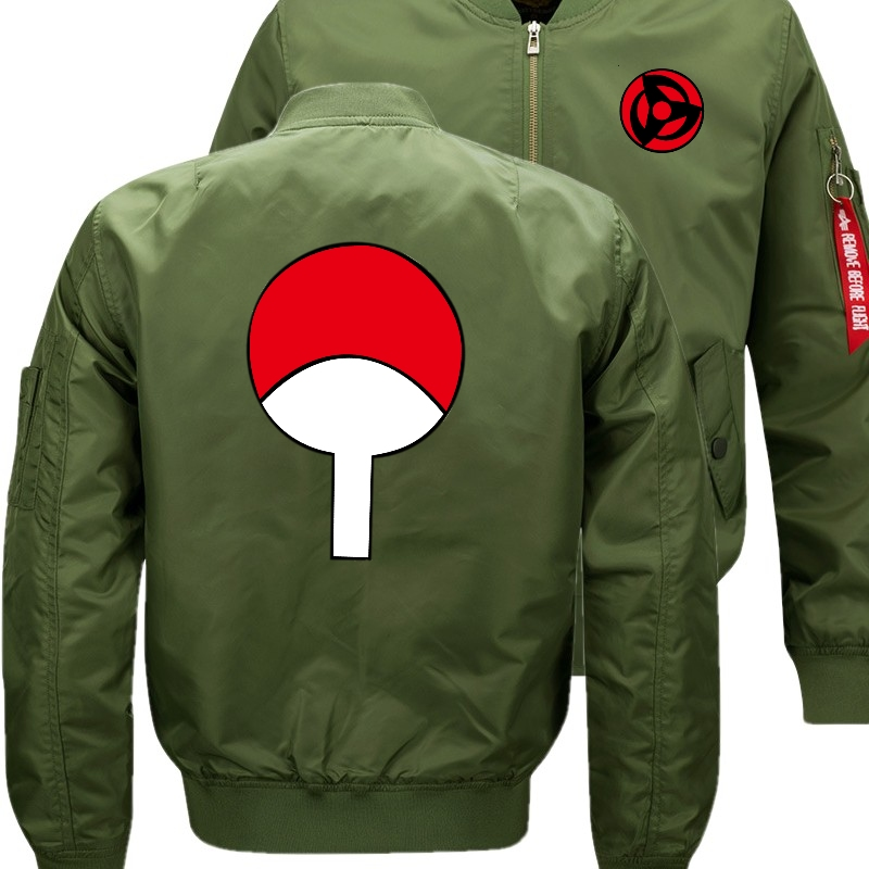 Naruto write round eyes Sasuke Bomber Flight Flying Jacket Winter thicken Warm Zipper Men Jackets Anime Men's Casual Coat nbw A+