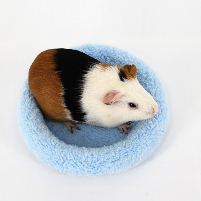 Hamster Small Animal Solid Winter Warm Round Cage Mat Fleece Sleeping Bed Pet Bed Rat Hamster Accessory Sleeping Bag Outdoor Cages