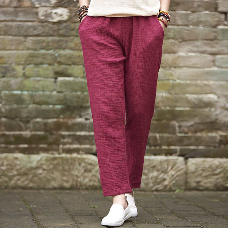 Elastic Waist Solid Cotton Women Slim   Pants   7 color Casual Summer   Pants     Capri   Pencil Ankle-length Trousers Women Cute   Pants   B163