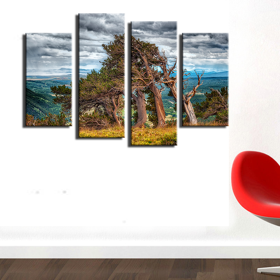 4pcs The Wind tree Wall painting print on canvas for home decor ...