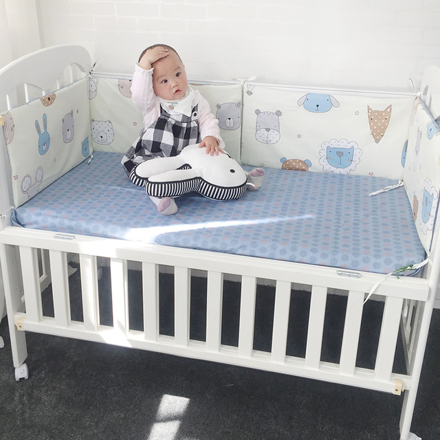 Baby Crib Bumper Soft Breathable Cotton Bed Protector For Kids Croth To The Cot Bedding Set For Children 120cm Per Piece