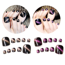 24Pcs Cat Eyes Style Fake Toe Nails Tips Black Cute Lady Girls Short False Artificial Feet Patch Press on Nail
