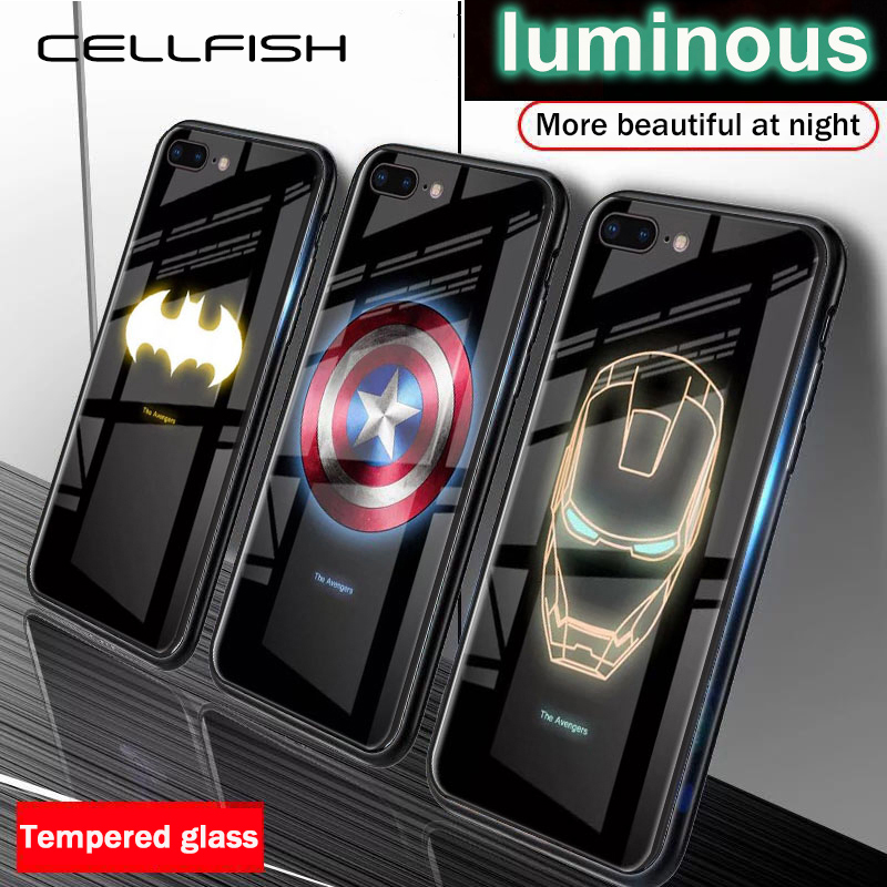 Marvel Avengers Luminous Tempered Glass Case for iPhone X XS MAX XR 10 6S 7 8 Plus 7Plus 8Plus Coque Batman Iron Man Phone Cover image
