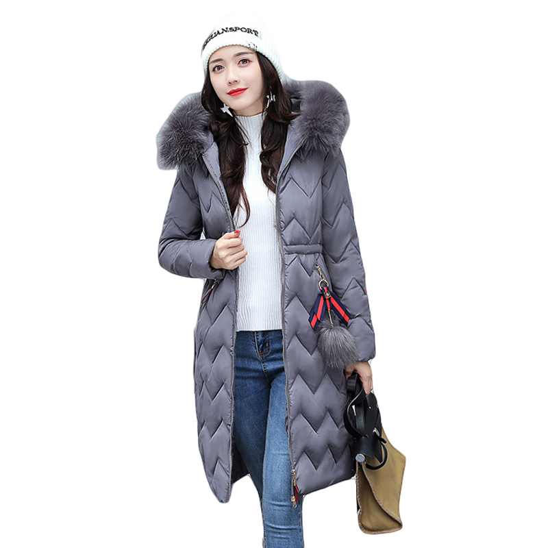 2017 Long Parkas Women Large Fur Collar Hooded Jacket Female Warm Winter Coat Outwear Thick Padded Cotton Coat Plus Size CM1405 women winter cotton padded jacket warm slim parkas long thick coat with fur ball hooded outercoat female overknee hoodies parkas