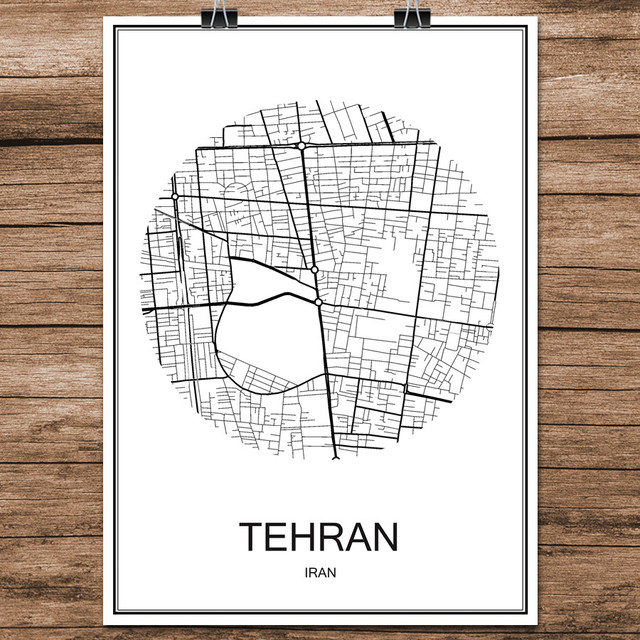 Black White World City Map Of TEHRAN Iran Print Poster Coated Paper For Cafe Living Room